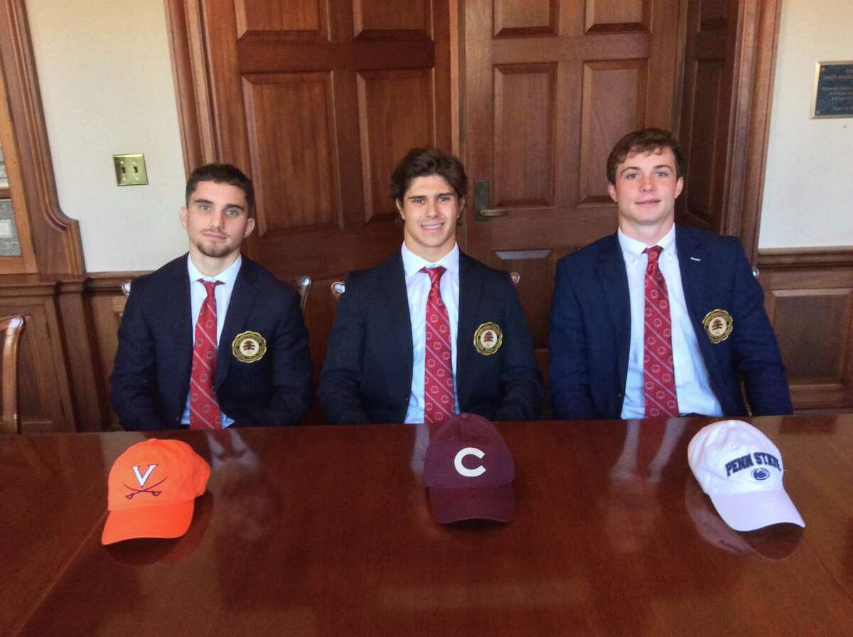 From left to right, Brunswick School seniors Luca Errico (Virginia wrestling), Liam Fairback (Colgate lacrosse) and Brody Firestein (Penn State lacrosse) signed National Letters of Intent to continue their athletic careers at their respective Division I schools of choice on Wednesday, November, 13, 2019.