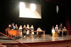 """A tense courtroom scene from the Manistee Middle/High School drama production of """"Vanderpool and Field Resuscitated"""" is shown. The drama students will be putting on two one act plays with the other one being """"Disaster"""" at 7 p.m. on Friday and Saturday and again at 2 p.m. on Sunday.(Ken Grabowski/News Advocate)"""