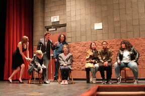 The Thieves looking to pull off the heist from the casino plot in this scene from the Manistee Middle/High School production of Disaster. (Ken Grabowski/News Advocate)