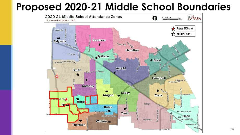 The Cy-Fair ISD Board of Trustees was shown both the proposed boundaries and the current boundaries during the board meeting on Nov. 11. Photo: Provided By Cy-Fair ISD
