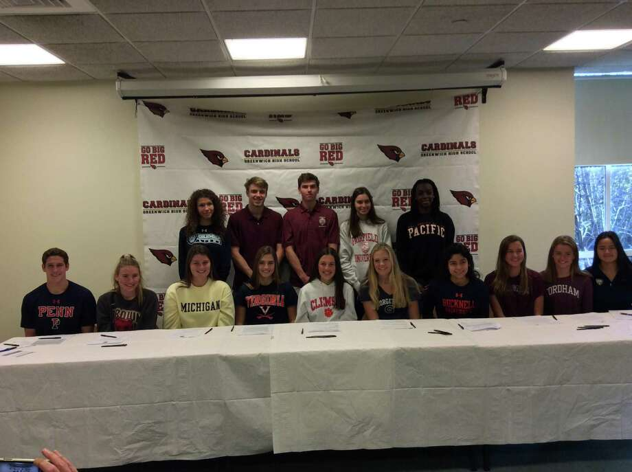 Fifteen athletes gathered at Greenwich High School on Wednesday, November 13, 2019, where they were recognized for being future Division I athletes. Photo: David Fierro /Hearst Connecticut Media