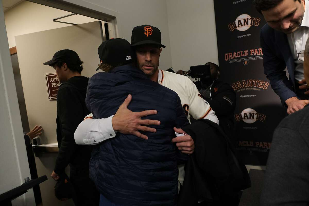 Gabe Kapler the new San Francisco Giant�s manager hugs his son at a press conference at Oracle Park in San Francisco, Calif. on Wednesday November 13, 2019.