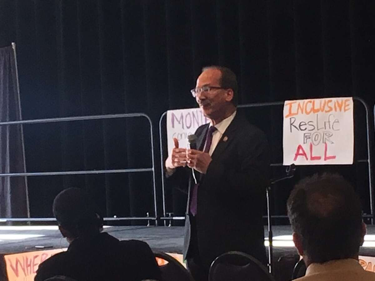 University at Albany President Havidán Rodríguez speaks at racial climate town hall at the University at Albany on Wednesday, Nov. 13, 2019.