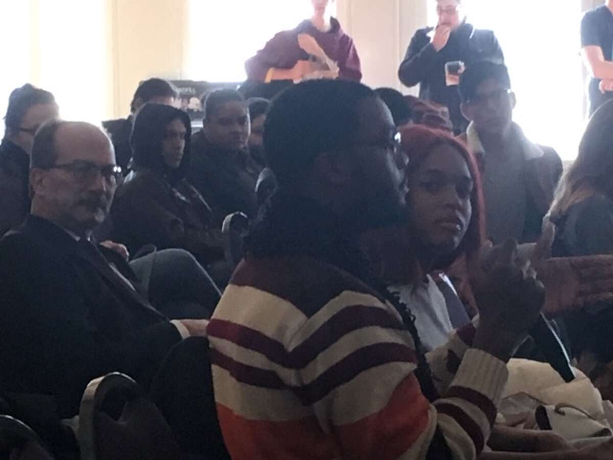 Students speak at racial climate town hall at the University at Albany on Nov. 13, 2019.