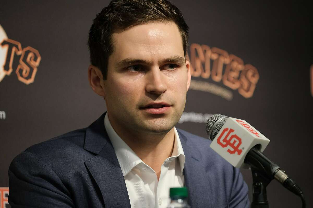 San Francisco Giants General Manager Scott Harris speaks at a press conference to introduce Gabe Kapler as the new Giant�s manager at Oracle Park in San Francisco, Calif. on Wednesday November 13, 2019.