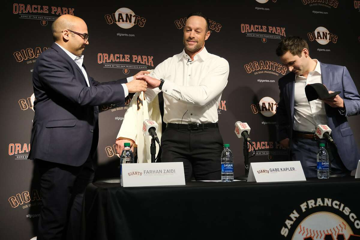 San Francisco Giants President of Baseball Operations Farhan Zaidi and General Manager Scott Harris introduce Gabe Kapler as the new Giant�s manager at a press conference at Oracle Park in San Francisco, Calif. on Wednesday November 13, 2019.