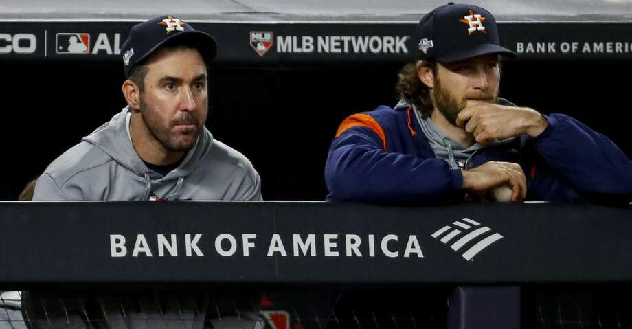 Justin Verlander (left) edged Gerrit Cole for the American League Cy Young Award and both were honored on the All-MLB team announced Tuesday. Photo: Brett Coomer/Staff Photographer