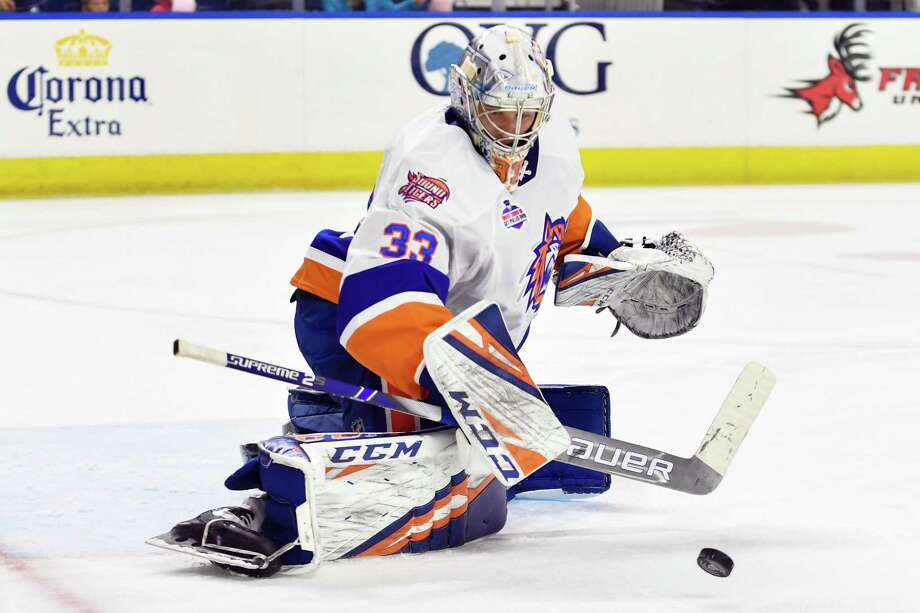 Goalie Christopher Gibson is the Bridgeport Sound Tigers' Man of the Year, given to a player each season for his contributions to the local community. Photo: Bridgeport Sound Tigers / Contributed Photo / Stamford Advocate Contributed