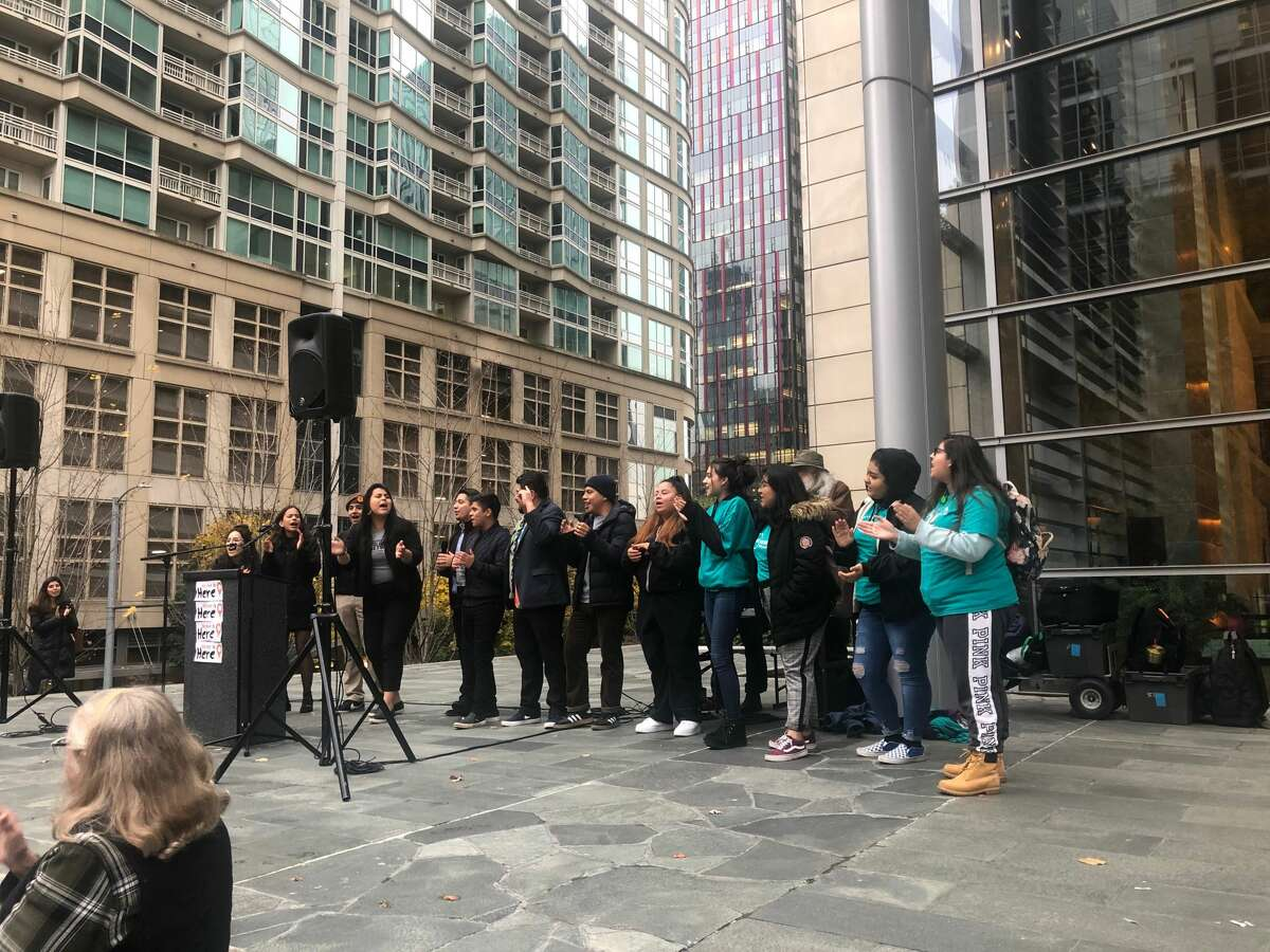 People gathered Tuesday in Seattle to support DACA recipients as the Supreme Court hears arguments to determine the future of the program. People who were undocumented -- both with and without DACA -- shared their stories and rallied the community to keep up the fight.