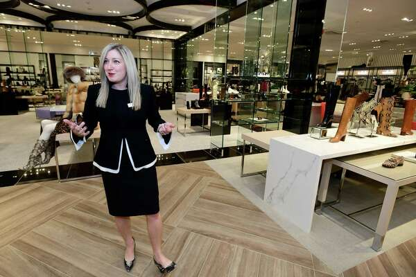 Bloomingdales General Manager Tiffany Mulick gives a tour of her new store in the SoNo Collection mall Wednesday, November 13, 2019, in Norwalk, Conn. The department store holds their grand opening Thursday, the second of two anchor stores at the SoNo Collection. The other, Nordstrom, opened in October.