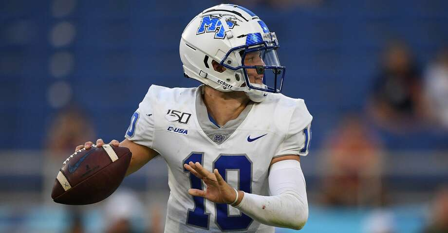 BOCA RATON, FLORIDA - OCTOBER 12: Asher O'Hara #10 of the Middle Tennessee Blue Raiders in action against the Florida Atlantic Owls in the second half at FAU Stadium on October 12, 2019 in Boca Raton, Florida. (Photo by Mark Brown/Getty Images) Photo: Mark Brown/Getty Images