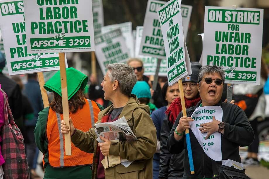 UC workers hold a one-day strike over the hiring of cheaper contractors. AFSCME Local 3299 says it would prefer state legislation and binding contract language over a just-approved policy. Photo: Brian Feulner / Special To The Chronicle