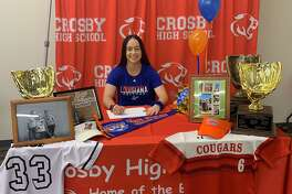 Crosby's Cece Pace signed her National Letter of Intent to play softball at Louisiana College during a ceremony at Crosby High School on the morning of Nov. 13