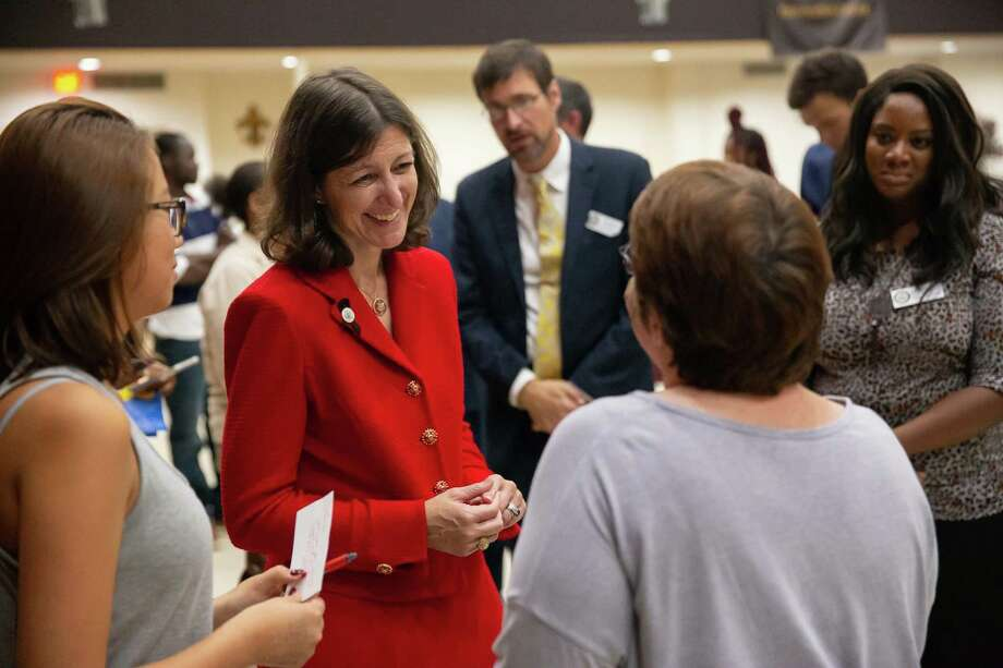 Rep. Elaine Luria, D-Va., speaks with Laura Tierney, left, and her mother, Heather, after a town hall at New Hope Baptist Church in Virginia Beach, Virgainia, on Thursday, Oct. 3, 2019. Photo: Photo For The Washington Post By Parker Michels-Boyce / Parker Michels-Boyce