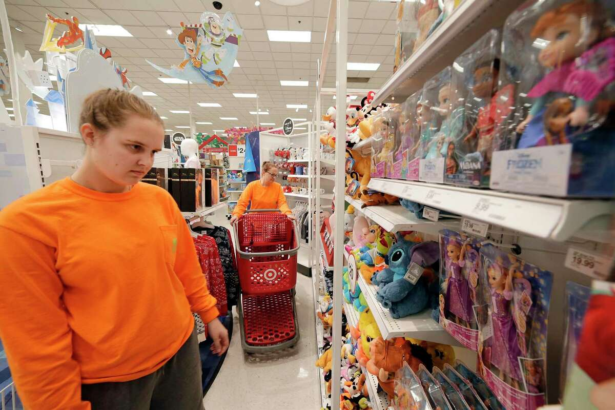 Cassie Gour and her mother Glenda Gour shop at the Disney Store within a store in the Target store Monday, Nov. 11, 2019 in Spring, TX.