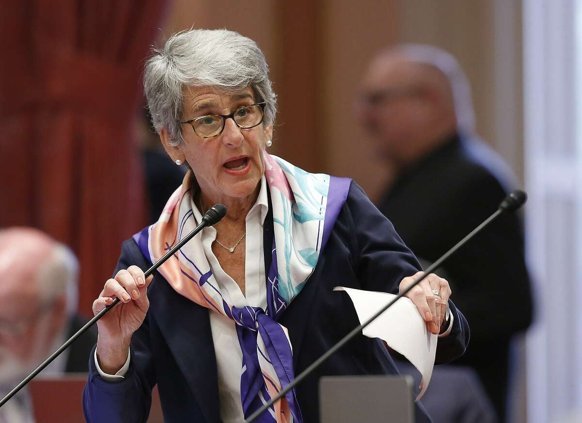 FILE - In this May 16, 2019, file photo, State Sen. Hannah-Beth Jackson, D-Santa Barbara, addresses the Senate in Sacramento, Calif. California's first-in-the-nation law requiring publicly held companies to put women on their boards of directors faces its second legal challenge. Pacific Legal Foundation sued in federal court on Wednesday, Nov. 13, 2019, arguing that the law violates the U.S. Constitution's equal protection clause. (AP Photo/Rich Pedroncelli, File)