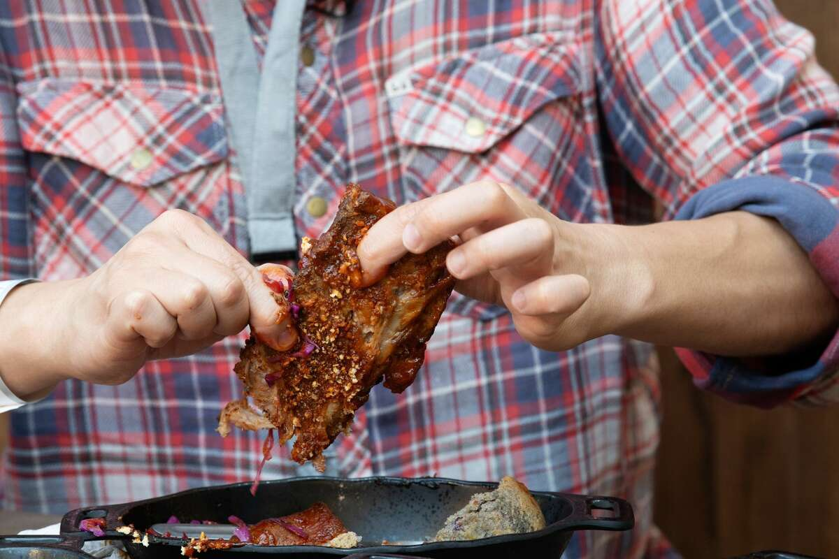"""The Kaadu Ribs from Docking Bay 7 at Disneyland's Star Wars: Galaxy's Edge on Thursday, May 30, 2019. The menu item was recently changed to """"Smoked Kaadu Pork Ribs"""" after the original Bantuu menu name confused guests."""