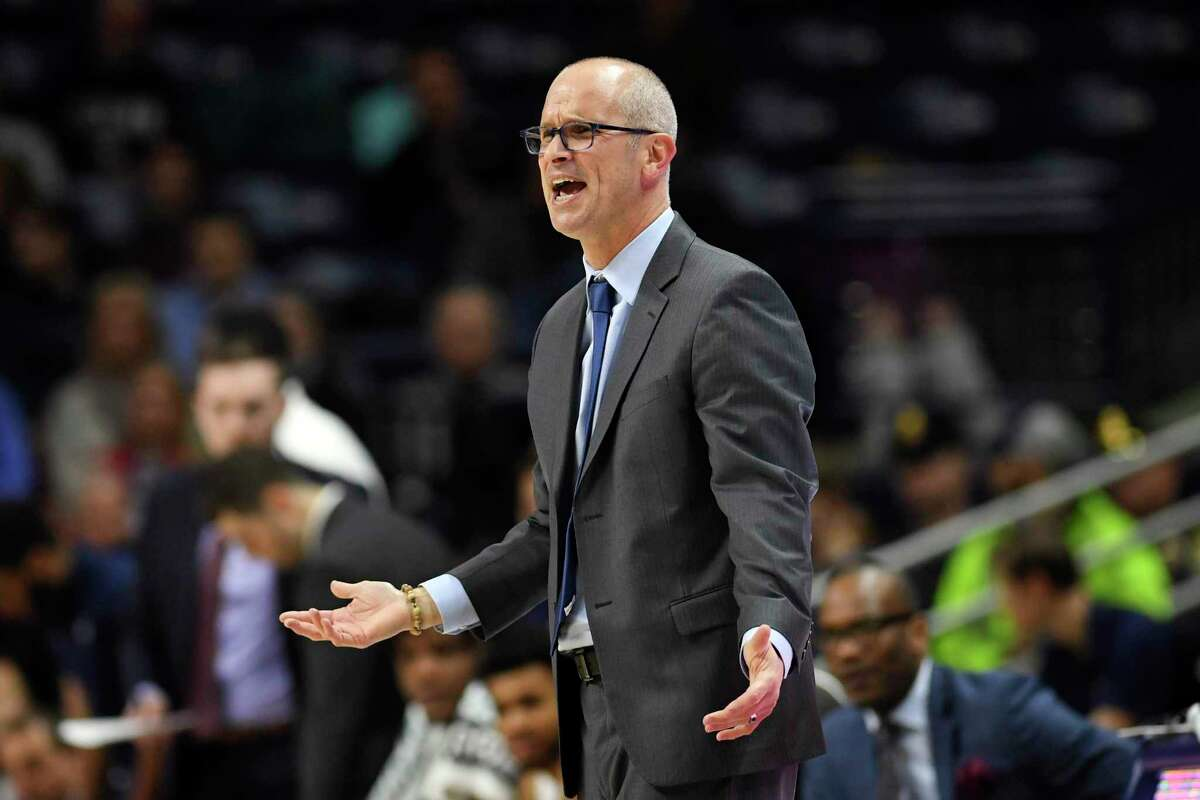 Connecticut head coach Dan Hurley looks frustrated as his team falls behind in the first half of an NCAA college basketball game against St. Joseph's Wednesday, Nov. 13, 2019, in Storrs, Conn. (AP Photo/Stephen Dunn)