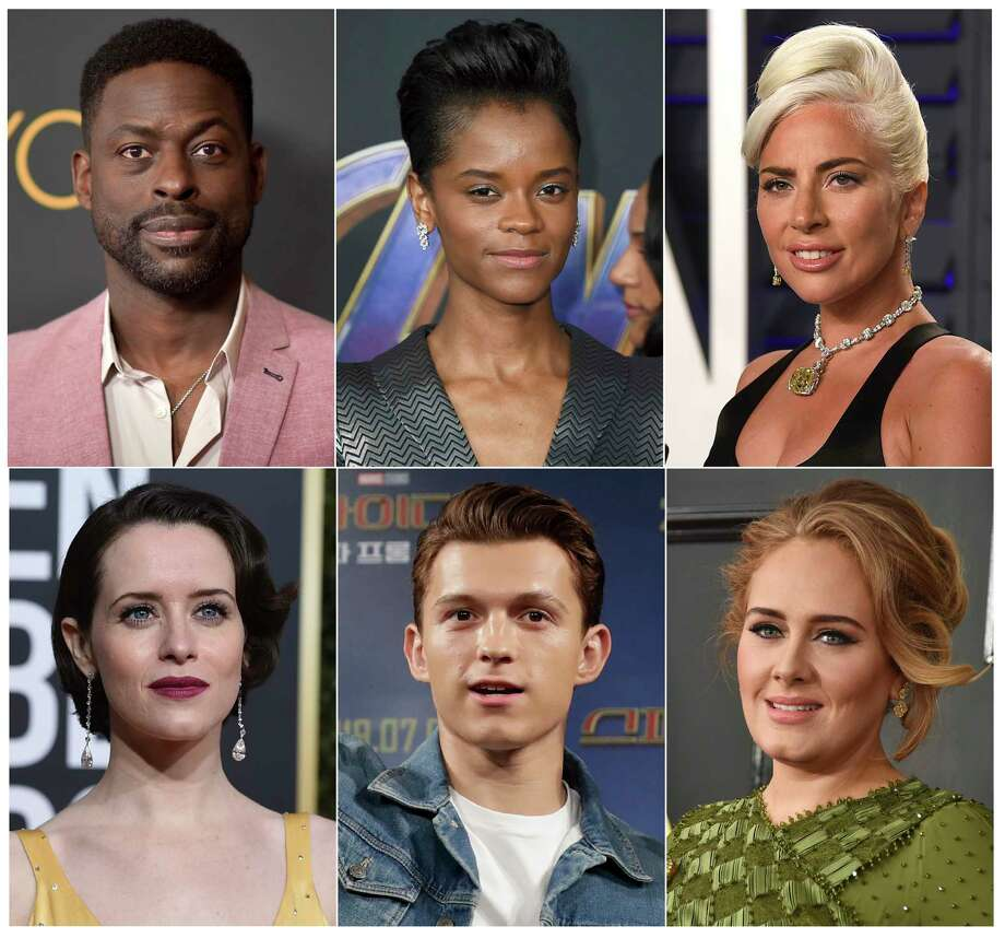 This combination photo shows, top row from left, Sterling K. Brown, Letitia Wright, Lady Gaga, and bottom row from left, Claire Foy, Tom Holland and singer Adele, who are among 842 people invited to join the Academy of Motion Pictures Arts and Sciences on Monday, July 1, 2019. (AP Photo) / AP