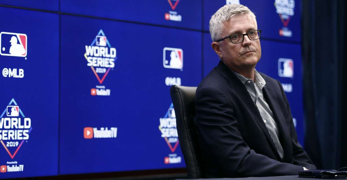Houston Astros general manager Jeff Luhnow speaks at a news conference Thursday, Oct. 24, 2019, in Washington. The Astros and the Washington Nationals are scheduled to play Game 3 of baseball's World Series on Friday. (AP Photo/Patrick Semansky)