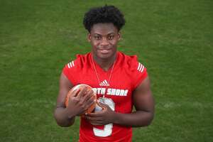 Dematrius Davis, North Shore High School quarterback, is the All Greater Houston Offensive Player of the Year Sunday, Dec. 30, 2018, in Houston.