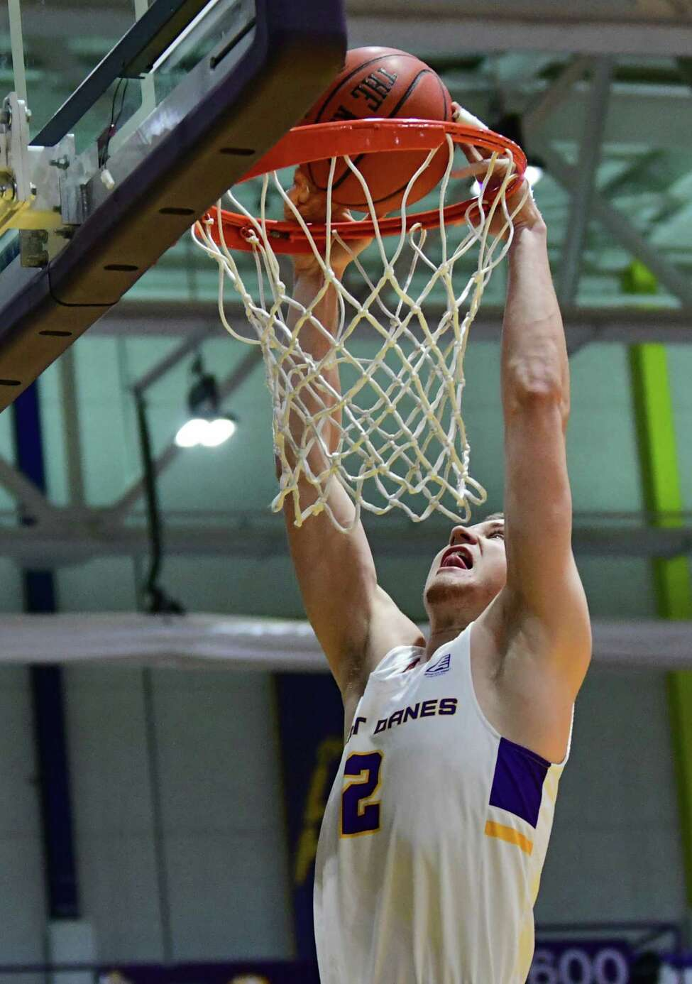 University at Albany's Trey Hutcheson dunks the ball during a basketball game against Canisius at the SEFCU Arena on Wednesday, Nov. 13, 2019 in Albany, N.Y. (Lori Van Buren/Times Union)