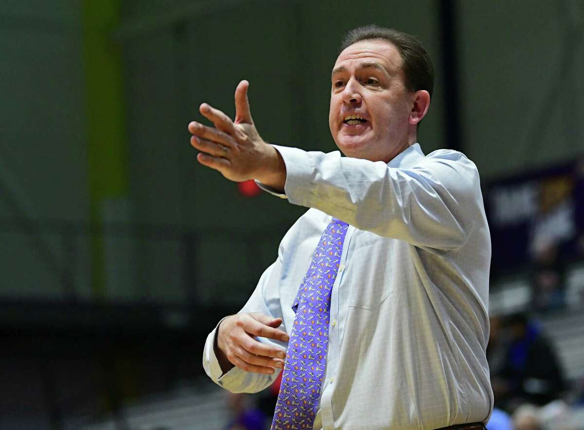 University at Albany head coach Will Brown communicates to his players during a basketball game against Canisius at the SEFCU Arena on Wednesday, Nov. 13, 2019 in Albany, N.Y. (Lori Van Buren/Times Union)