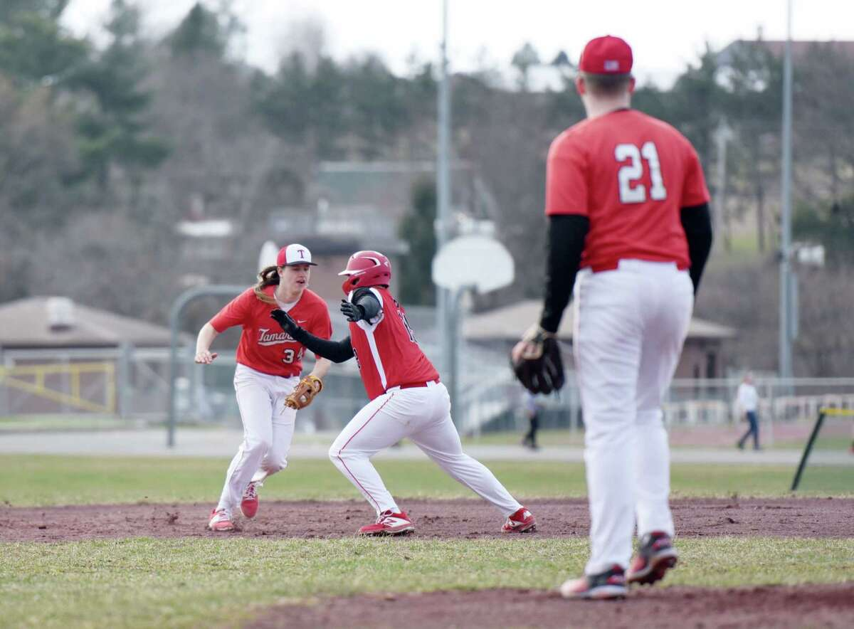 Tamarac's Tristan Nemjo tags out Mechanicville's Nicholas Billert during a game on Friday, April 12, 2019 at Tamarac High School in Clums Corners, NY. (Phoebe Sheehan/Times Union)