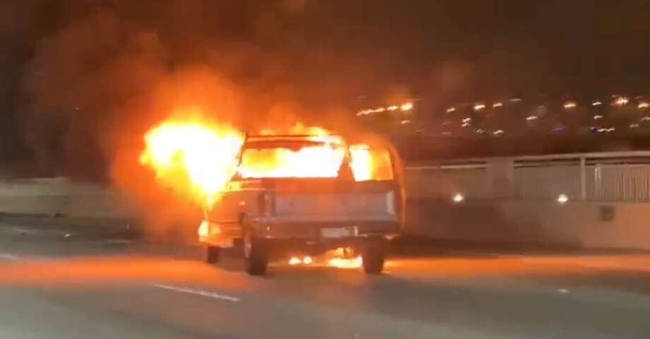 A vehicle caught fire after an accident on the Bay Bridge on Wednesday night, Nov. 13, 2019. Photo: Screenshot