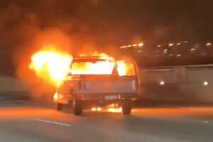A vehicle caught fire after an accident on the Bay Bridge on Wednesday night, Nov. 13, 2019.