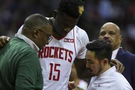 Houston Rockets center Clint Capela (15) left the game with an injury after being fouled during the second half of an NBA game against the LA Clippers at the Toyota Center Wednesday, Nov. 13, 2019, in Houston.