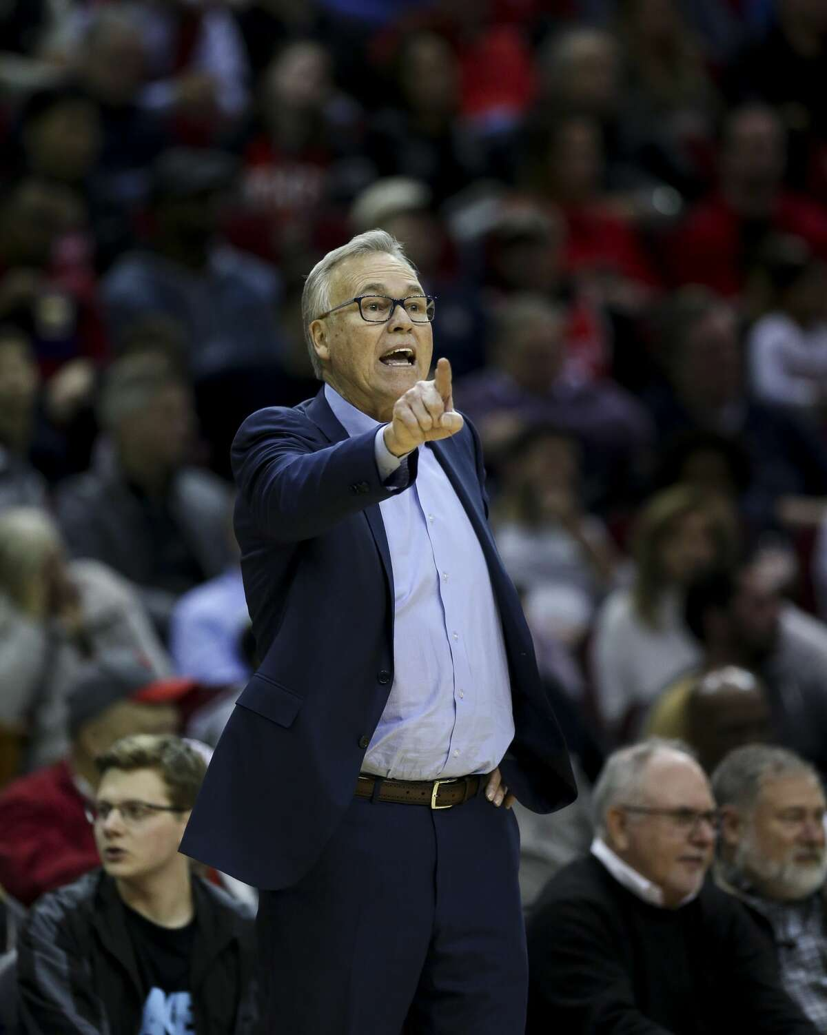 Houston Rockets head coach Mike D'Antoni talks to his players from the sideline during the second half of an NBA game against the LA Clippers at the Toyota Center Wednesday, Nov. 13, 2019, in Houston.