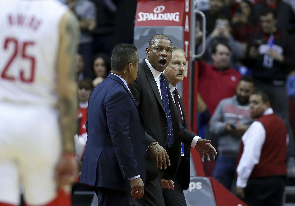 LA Clippers head coach Doc Rivers leaves the court after being ejected during the second half of an NBA game against the Houston Rockets at the Toyota Center Wednesday, Nov. 13, 2019, in Houston.
