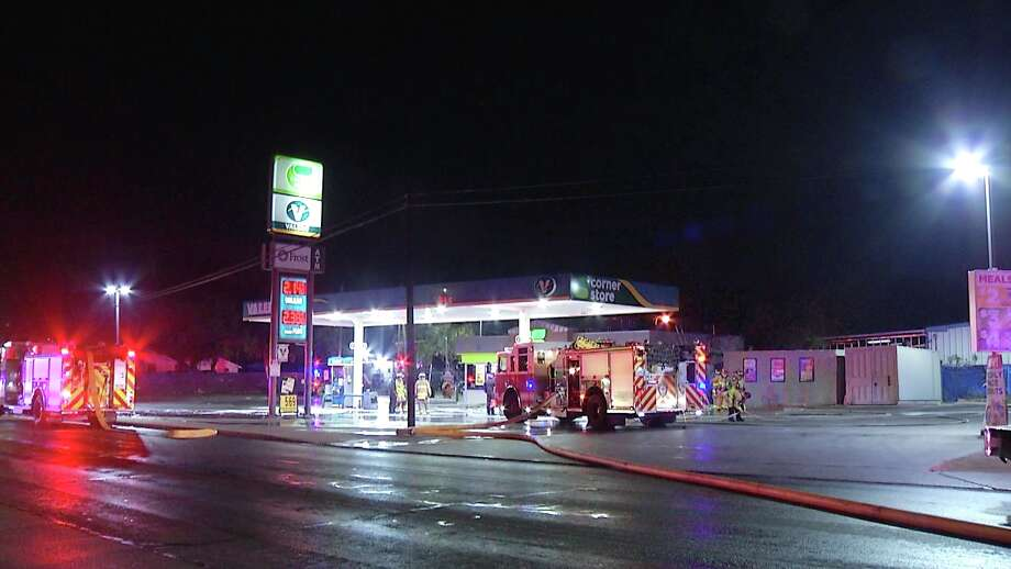San Antonio Fire Department is investigating a fire started at a South Side gas station. Photo: Ken Branca