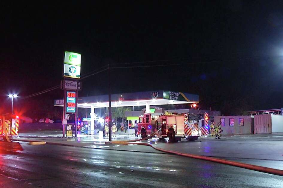 San Antonio Fire Department is investigating a fire started at a South Side gas station.