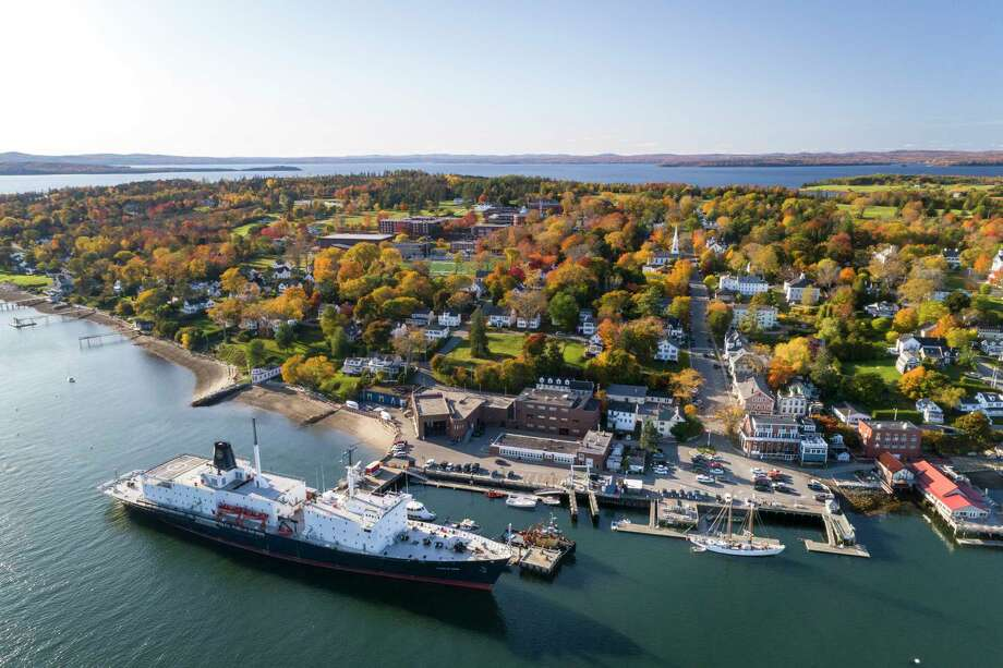 Maine Maritime Academy's campus is seen in an aerial view this fall. Photo: Maine Maritime Academy / The Washington Post