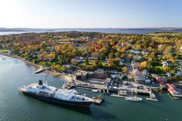 Maine Maritime Academy's campus is seen in an aerial view this fall.