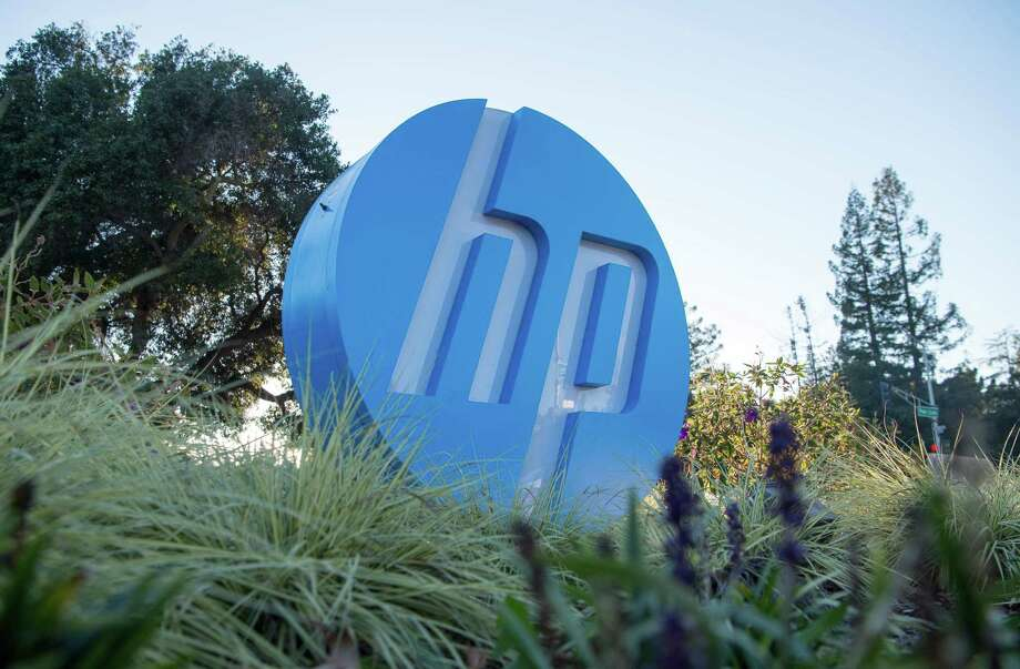 (FILES) In this file photo taken on November 4, 2016 the HP logo is seen on a sign at Hewlett Packard's headquarters in Palo Alto, California. - Xerox is mulling a takeover deal worth $27 billion for HP Inc., the consumer technology unit created by the split of Silicon Valley-based Hewlett Packard, reports said on November 6, 2019. The Wall Street Journal and CNBC reported that the photocopy machine pioneer was mulling a cash-and-stock offer, although nothing had been agreed. (Photo by JOSH EDELSON / AFP) (Photo by JOSH EDELSON/AFP via Getty Images) Photo: JOSH EDELSON / AFP Via Getty Images / AFP or licensors
