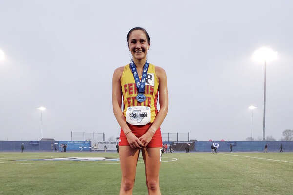 In this photo, Ferris State's Katie Etelamaki celebrates after winning the GLIAC Track & Field Championship in the 10,000 meters at the conference meet in May.