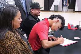 United South pitcher Marco Raya signed his letter of intent to Texas Tech on Wednesday.