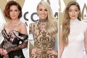 Halsey, Carrie Underwood and Gigi Hadid are pictured in this composite photo from the 53nd annual CMA Awards at Bridgestone Arena on November 13, 2019 in Nashville, Tennessee.