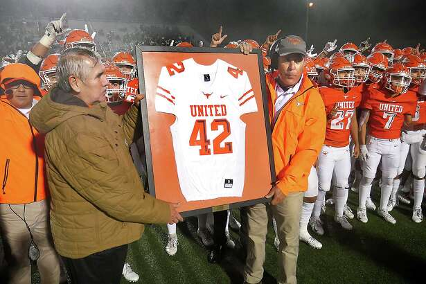 United retired Jalen Garcia's No. 42 jersey at halftime of the rivalry against Alexander.