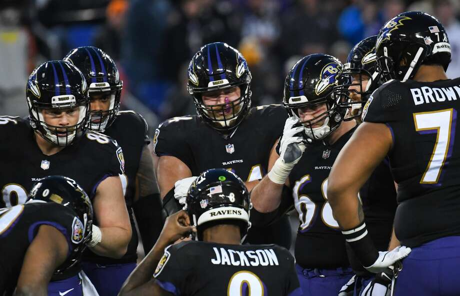 PHOTOS: John McClain's 2019 Week 11 predictions  BALTIMORE, MD - DECEMBER 30, 2018: (L to R) Tight end Nick Boyle #86, offensive tackle Ronnie Stanley #79, offensive tackle James Hurst #74, center Matt Skura #68, offensive guard Marshal Yanda #73 and offensive tackle Orlando Brown #78 listen to a play call from quarterback Lamar Jackson #8 in the first quarter of a game against the Cleveland Browns on December 30, 2018 at M&T Bank Stadium in Baltimore, Maryland. Baltimore won 26-24. (Photo by: 2018 Nick Cammett/Diamond Images/Getty Images)  >>>See The General's picks for this week's matchups ...  Photo: Diamond Images/Diamond Images/Getty Images
