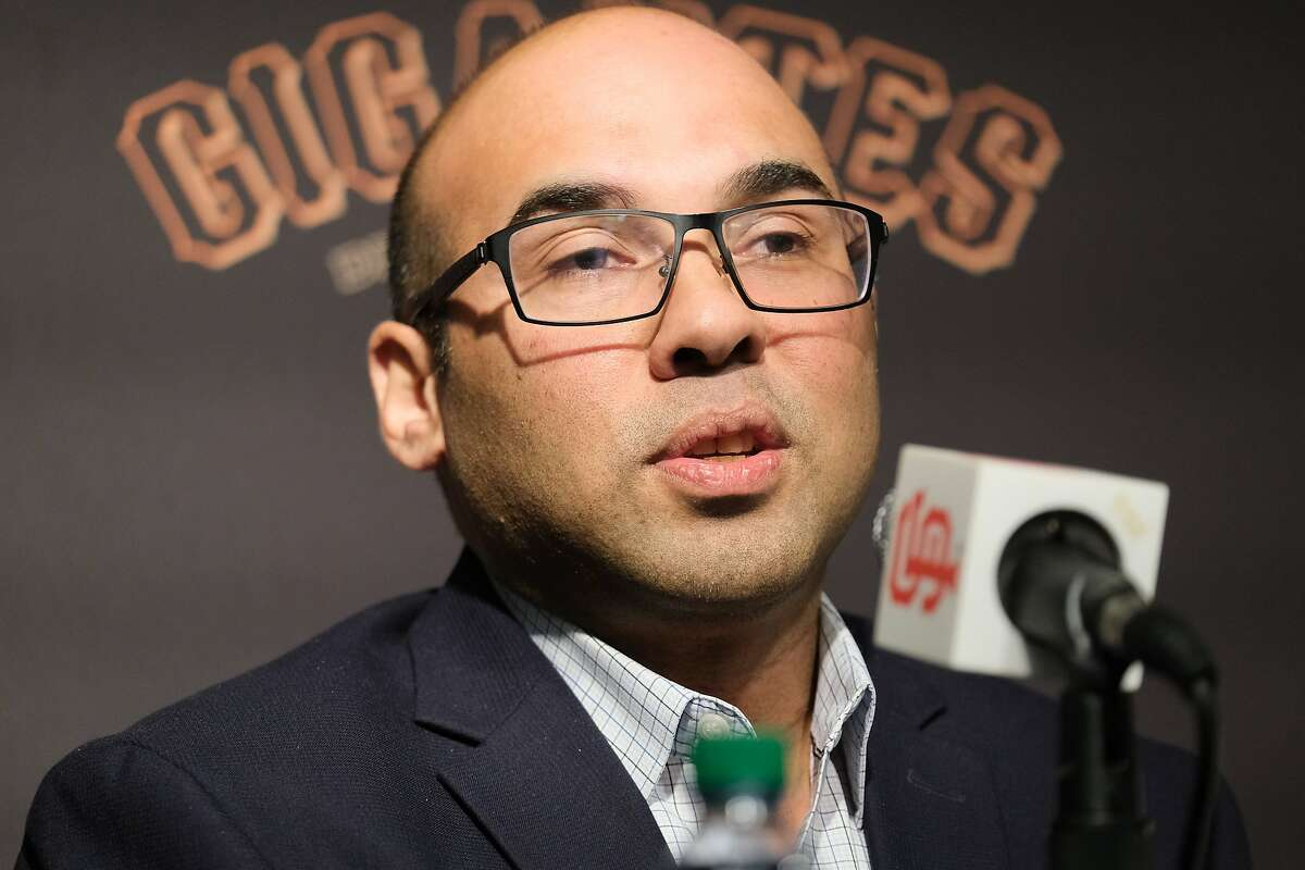 San Francisco Giants President of Baseball Operations Farhan Zaidi speaks at a press conference to introduce Gabe Kapler as the new Giant�s manager at Oracle Park in San Francisco, Calif. on Wednesday November 13, 2019.