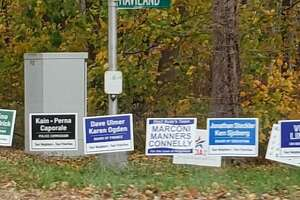 Election signs on Haviland Road last week before Ridgefield voters headed to the polls on Nov. 5