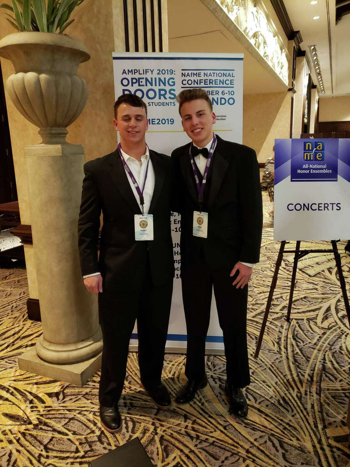 Trumbull High students Dylan Cranston and Robert Goldstein recently spent a week in Orlando, Florida with a group of young vocalists at the National Association for Music Education 2019 All-National Honor Ensembles.