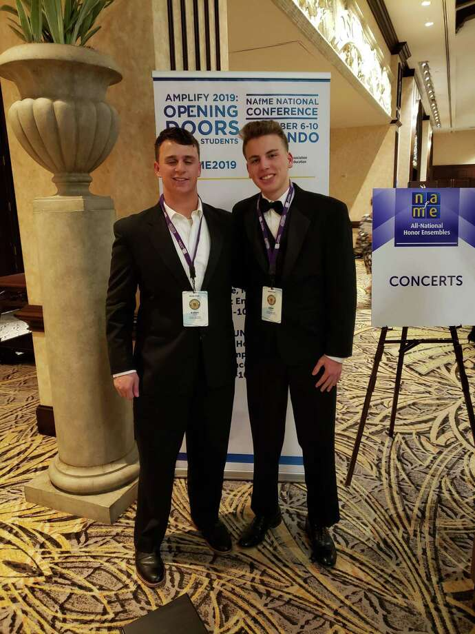 Trumbull High students Dylan Cranston and Robert Goldstein recently spent a week in Orlando, Florida with a group of young vocalists at the National Association for Music Education 2019 All-National Honor Ensembles. Photo: Submitted