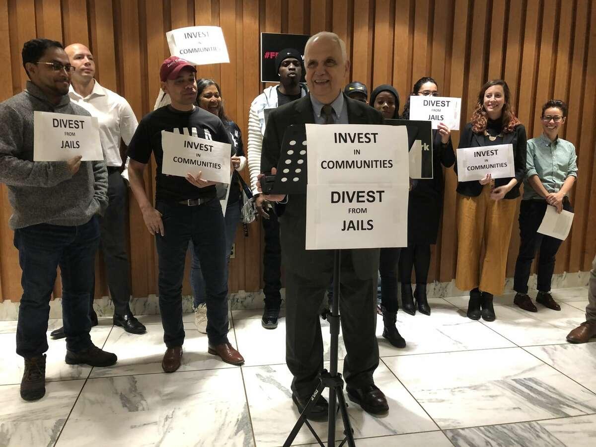 Assemblyman Joe Lentol, D-Brooklyn, joins advocates in a rally in the Legislative Office Building on Thursday, Nov. 14, 2019.