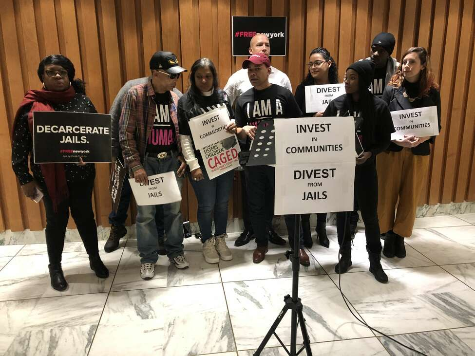 Advocates gather in the Legislative Office Building on Thursday, Nov. 14, 2019, to call for more community-based resources across the state.