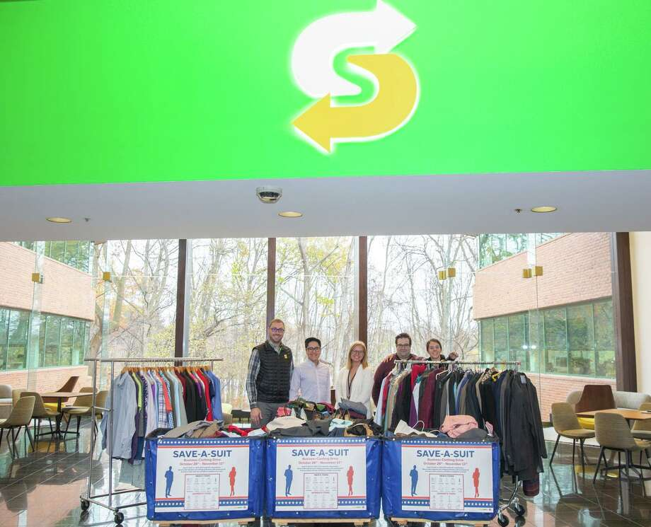 Subway recently finished collecting more than600 items of clothing to help Save a Suit Foundation. Photo: Contributed Photo.